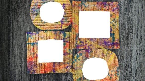 rámiky na fotografie alebo iné obrázky vyhotovené zo starého kartónu
