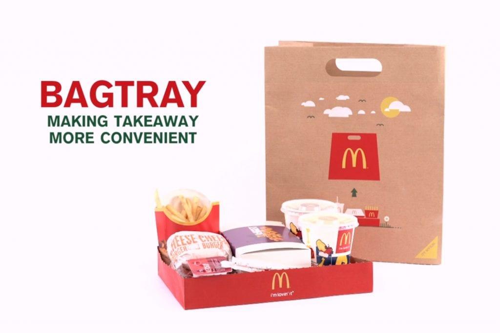 papierová taška vcelku a taška rozdelená na dve časti, pričom spodná časť slúži ako tácka/podnos na potraviny a nápoje