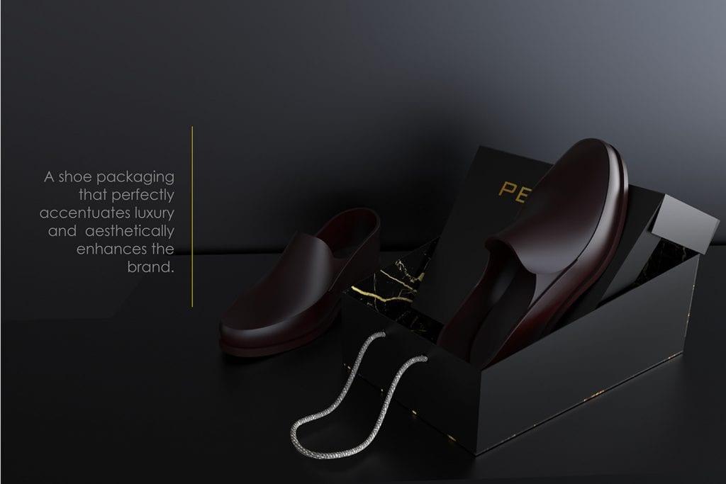 topánky vystavené na krabici na topánky, ktorá je špeciálne uspôsobená na tento účel