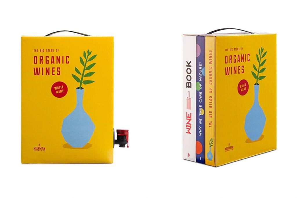 obal na víno, ktorý vyzerá ako tri knihy uložené vedľa seba; v spodnej časti má plastový kohútik na čapovanie vína z plastového sáčku, ktorý je umiestnený v obale, resp. krabici